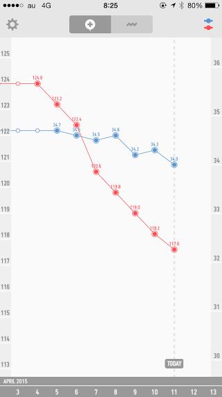 はじめてのファスティング、結果のグラフ